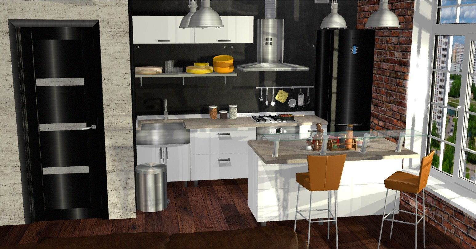 проект кухни гостиной в стиле лофт