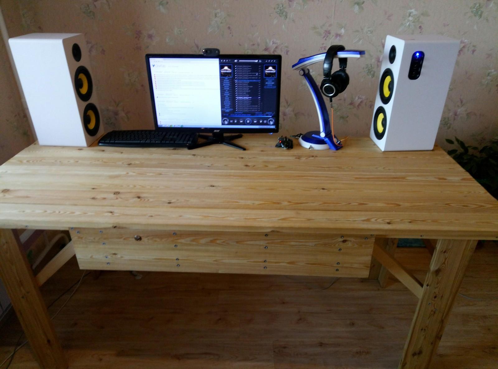 Компьютерный стол своими руками сделано, чтобы, переехал, сообщества, колонки, сделал, спереди, разъём, открыть, Потом, Леруа, дерева, досок, Далее, менее, рассказать, столом, справа, переключатель, между