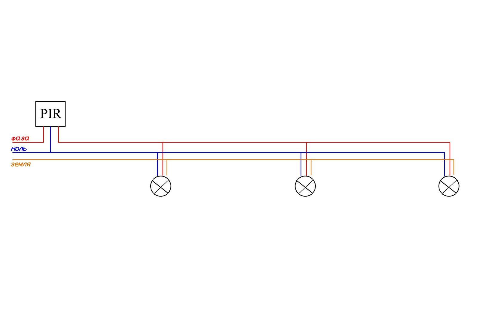 Схема подключения датчика движения с выключателем фото 498