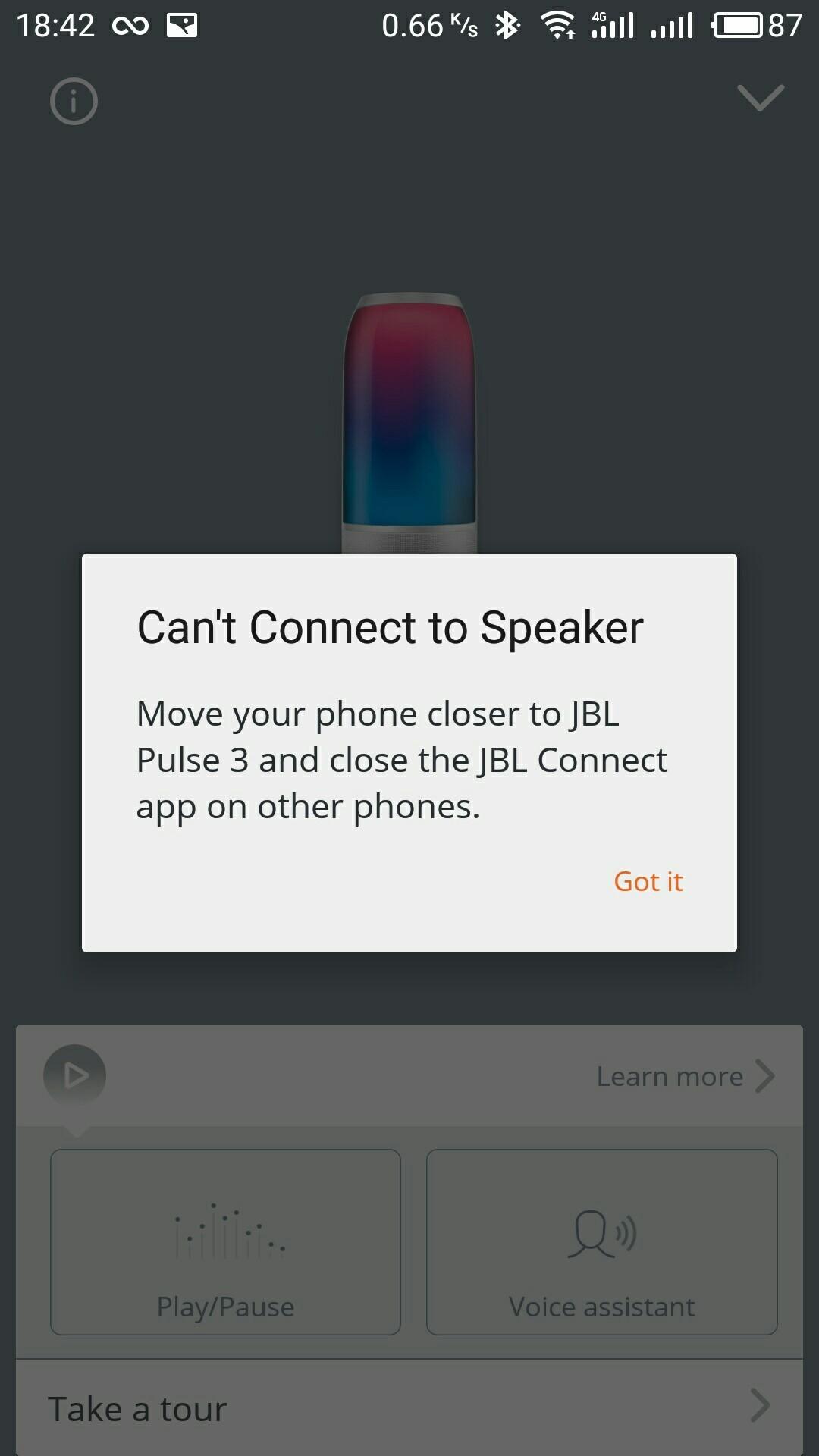 JBL pulse 3, проблемы с коннектом приложения