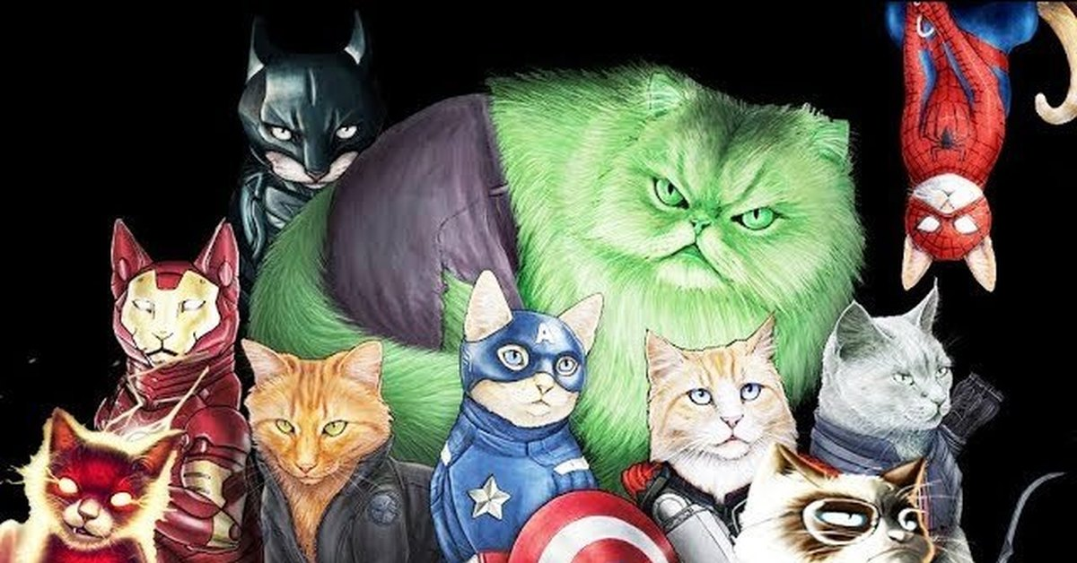 Картинки кошек супер героев